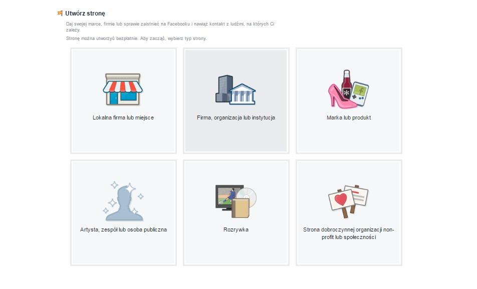 typy kont firmowych na facebooku