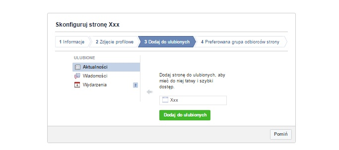 ulubione strony na profilu firmowym na facebooku